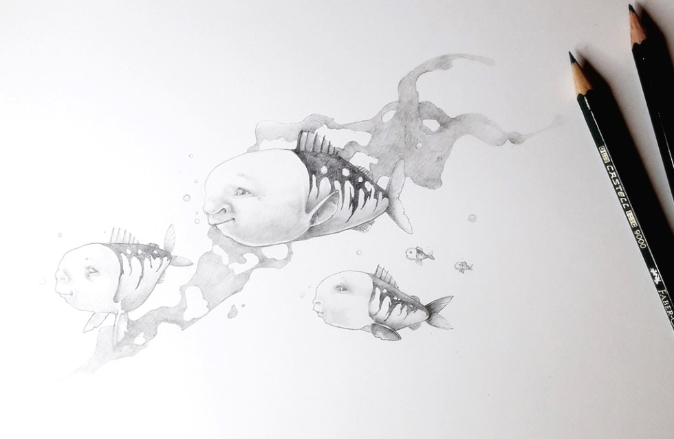 Pencil drawing of mermoids which are fishes with human faces in the water