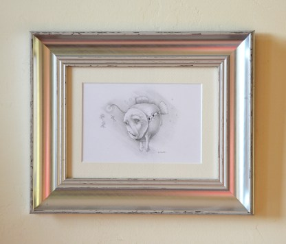 Framed pencil drawing of fish with grumpy expression