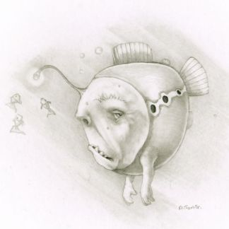 Pencil drawing of grumpy fish with dangly light on his head and arms