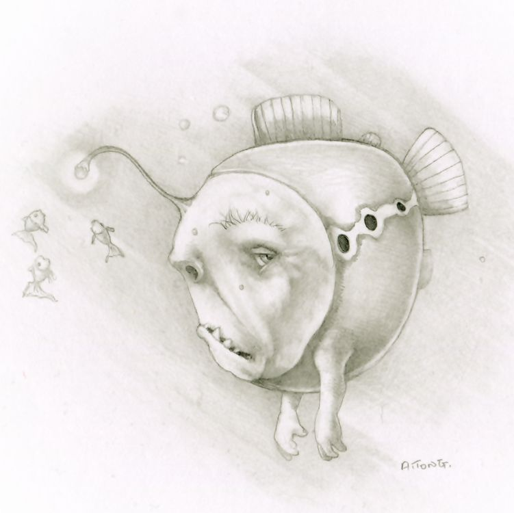 Pencil drawing of grumpy mermoid which is a fish with a grumpy face with dangly light on his head and arms