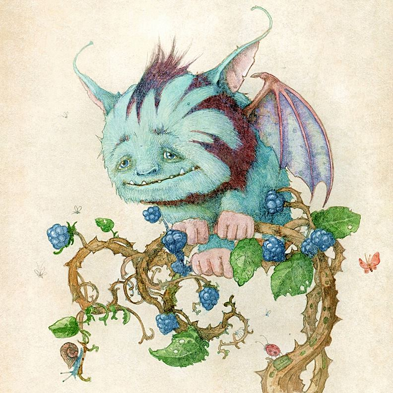 Coloured drawing of gargoyle like creature perched on a blackberry branch