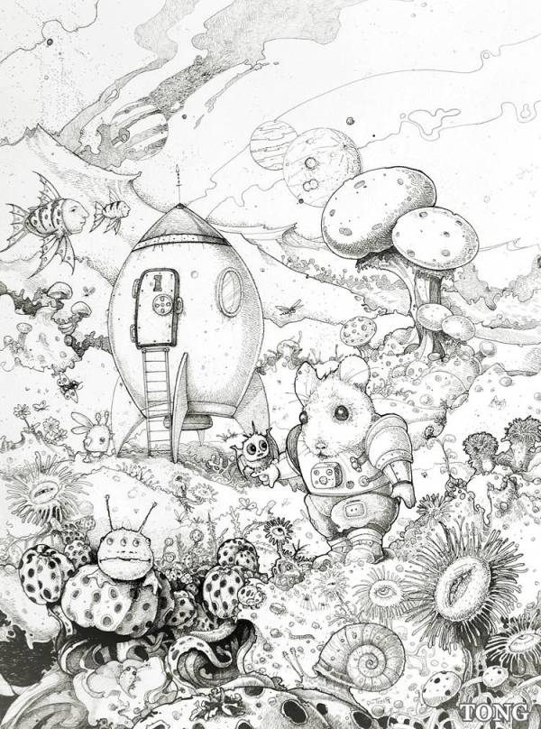 Print of ink and pen drawing showing mouse as astronaut on a foreign planet