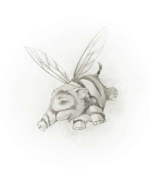 The Honeyphant 3 illustration showing a flying elephant with bee wings