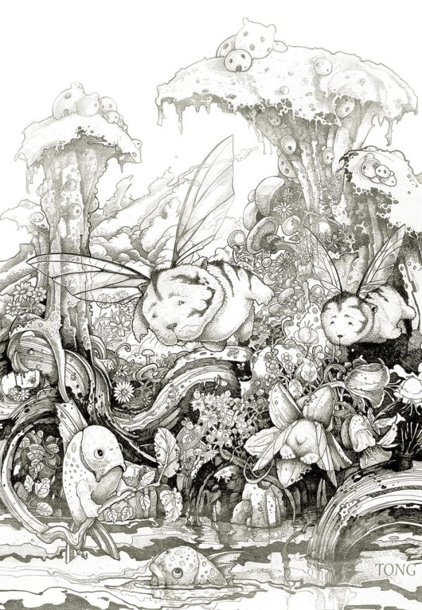 Print of pen and ink drawing showing flying bears in a fantastic landscape