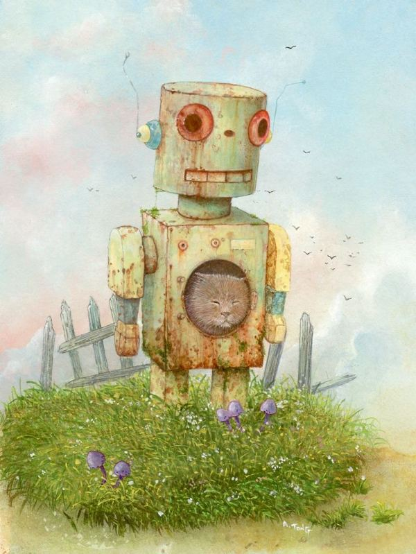 ink and pencil drawing of sleeping cat in a rusty robot standing in a garden
