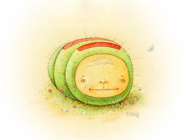 Original Artwork The Nunglepiller showing a green caterpillar with red stripes and smiling face