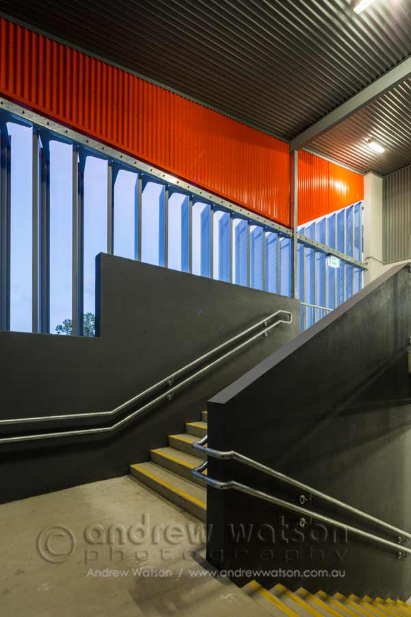Image of screens in architectural design of school stairways