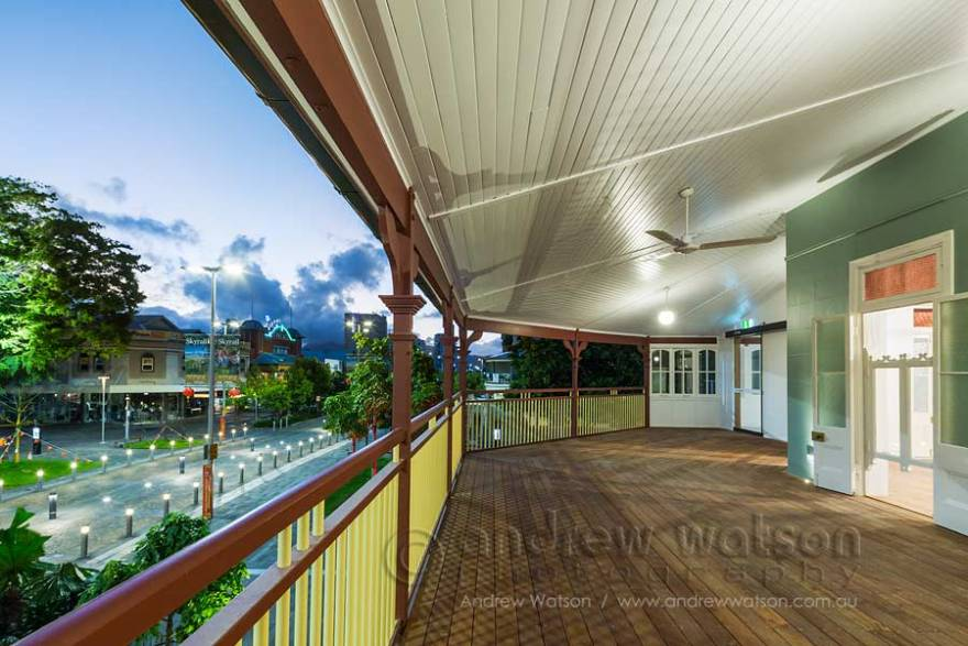Image of view from timber verandah in School of Arts building, Cairns