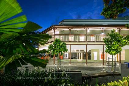 Twilight image of heritage listed Cairns School of Arts building