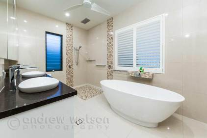 Interior image of bathroom in architectural home