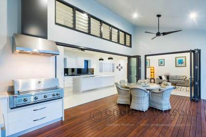 Image of outdoor dining area in architectural residential home in Cairns