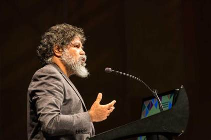 "Image of ""Welcome to Country"" speaker during plenary sessions of ANZSGM 2016"