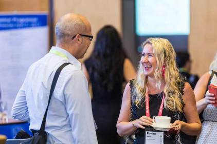 Image of delegates networking at the ANZA workshop in Cairns