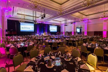 Image of room setup for dinner reception during ANZA 2017