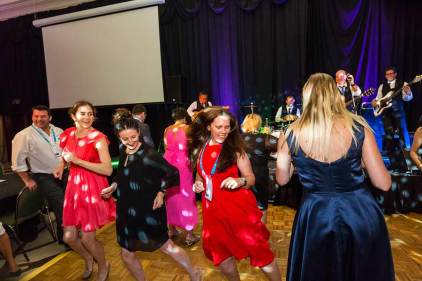 Image of delegates dancing at dinner reception during ANZA 2017