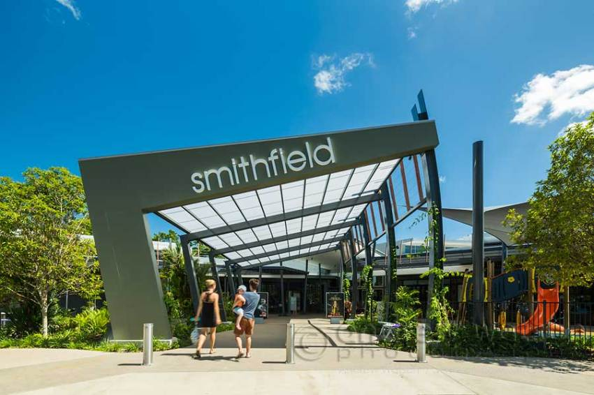Image of family at entrance to Smithfield Shopping Centre