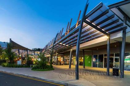 Image of new Smithfield Shopping Centre outdoor dining at twilight