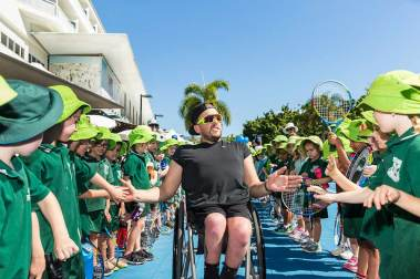 Image of Dylan Alcott at ANZ kids' tennis clinic in Cairns