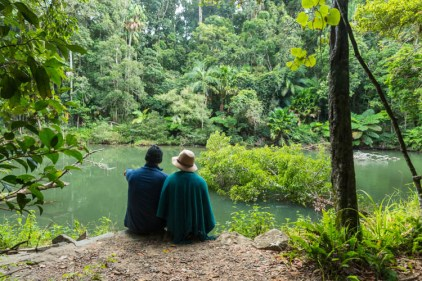 Image of visitors spotting platypus in the Broken River, Eungella National Park