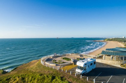 Image of campervan parked at Lamberts Lookout in Mackay