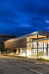 Exterior of Bulmba-ja Centre of Contemporary Arts in Cairns at night