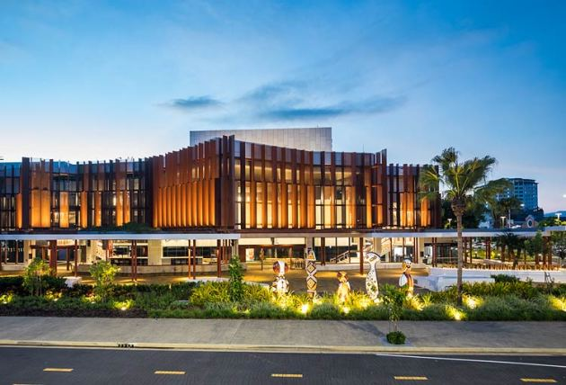 Exterior view of the Cairns Performing Arts Centre facade at twilight