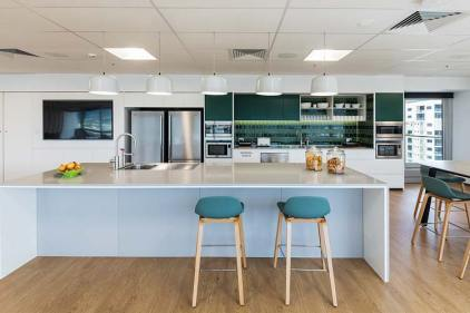 Staff kitchen area and social hub inside an accountancy corporate office