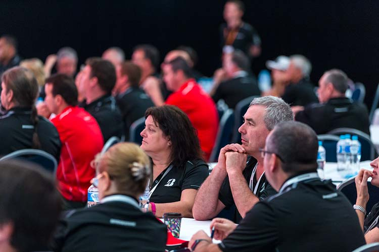 View of conference delegates watching a presentation