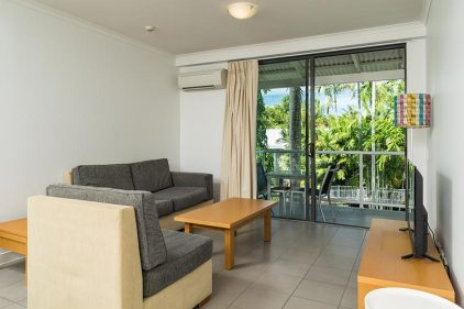 Lounge room in holiday resort accommodation