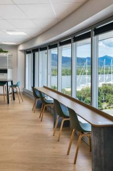 Staff kitchen seating overlooking waterfront in Cairns accoutancy office