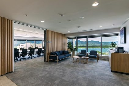 Client lounge overlooking Cairns inlet and staff meeting room interior