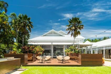 Outdoor dining deck at Port Douglas resort