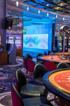 Interior of the Reef Hotel Casino gaming floor to bubble wall entrance
