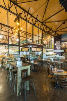 Interior of the Barr St Markets building in Cairns showing the indoor dining precinct