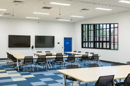 Interior detail of Atherton Disaster Centre conference room showing educational layout