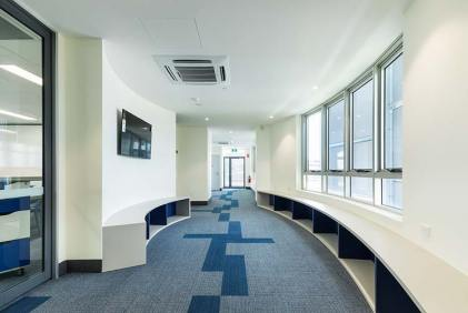 Interior of the St Monica's College new building showing an interactive corridor