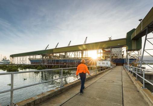 Worker walking towards ship loading at the Cairns sugar terminal at dawn