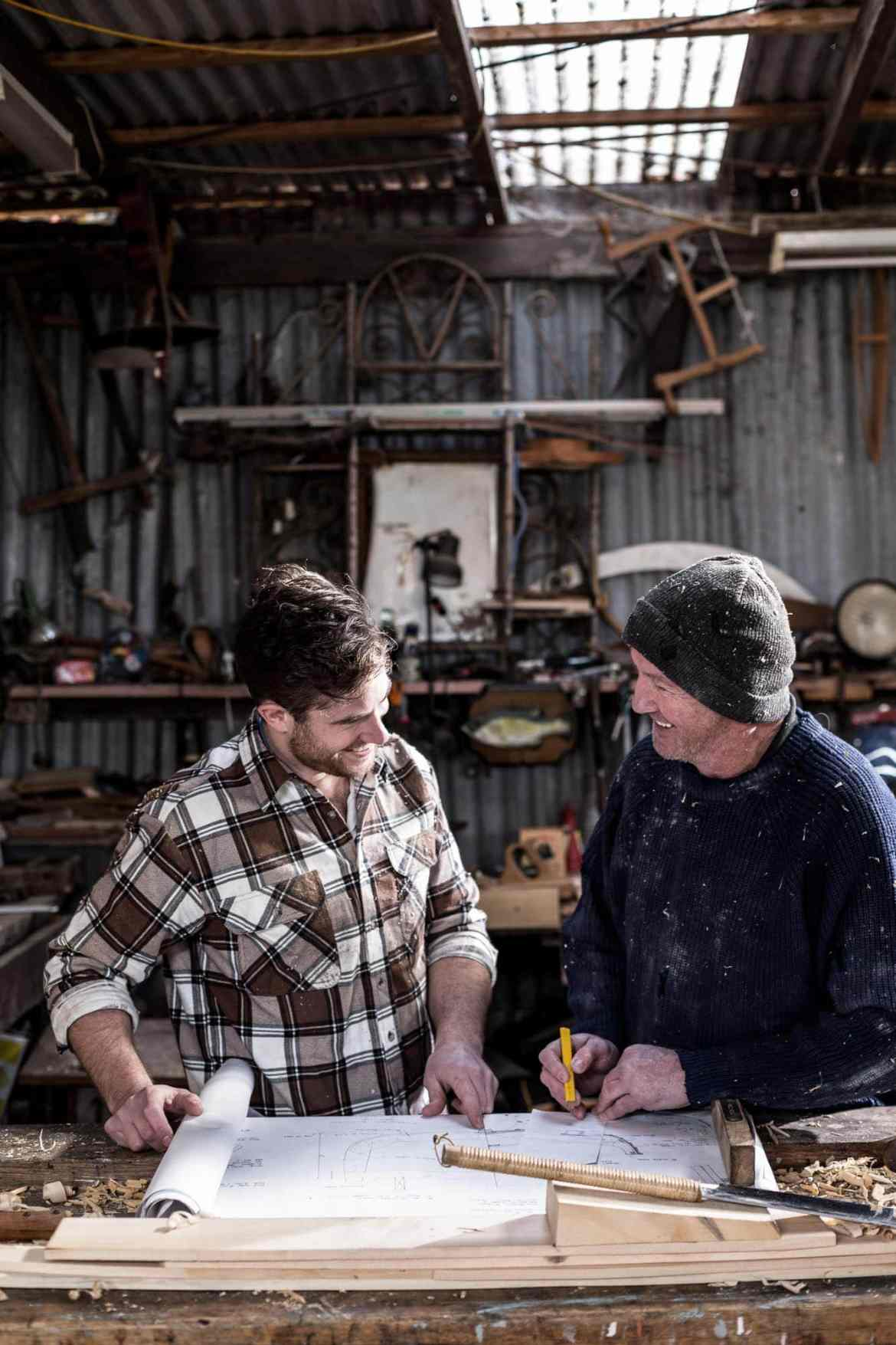 Portrait photography of a father and son in a shed