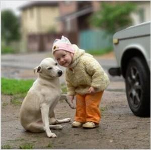 Девчушка с собакой перед фотоаппаратом