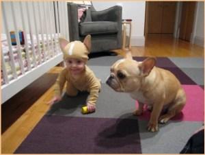 на фото малютка с собакой