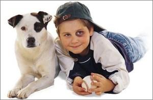 Нарядные мальчик и пёс