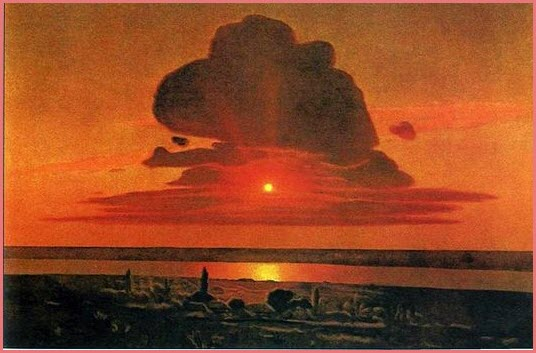 Красный закат картина