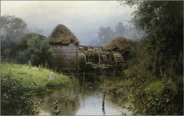 Старая мельница картина