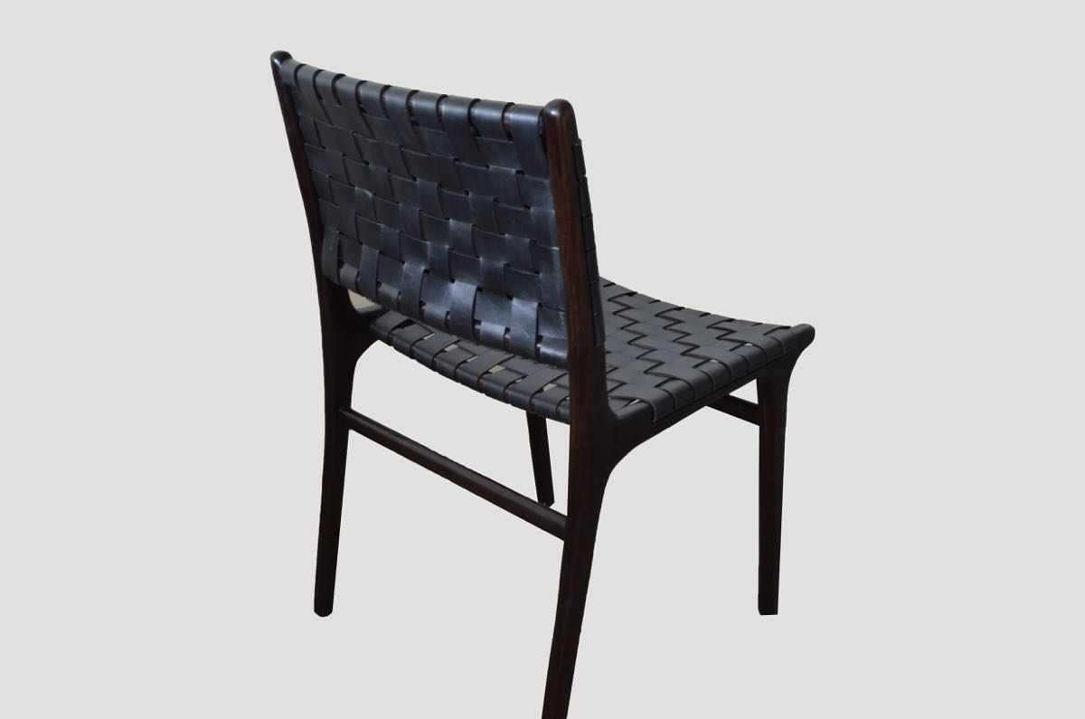 Leather Woven Chair Modern Chair Series Double Backed Leather Woven Chair