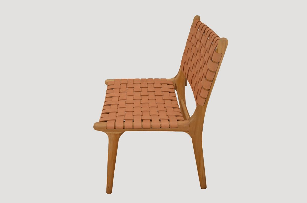 Leather Woven Chair Modern Chair Series Single Backed Leather Woven Chair