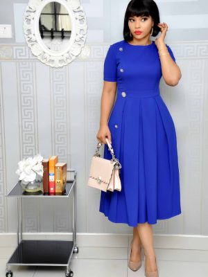 Royal blue dress with silver button