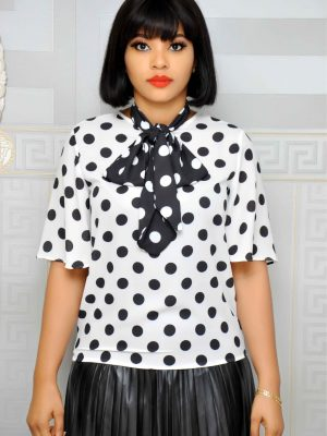 White Polkadot Top with Tie