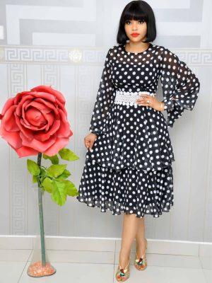 Black and White Polkadot Layer Dress