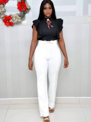 Black and White Jump Suit with Brooch