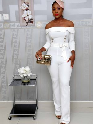 White Off-Shoulder Military Jumpsuit